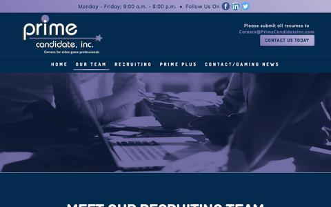 Screenshot of Team Page primecandidateinc.com - Recruiting Firm, Entertainment Recruitment - captured July 21, 2018