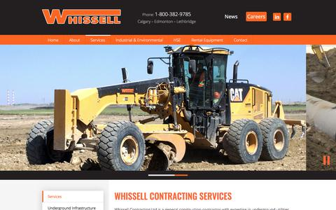 Screenshot of Services Page whissell.ca - Whissell Contracting Ltd. - Services - captured Nov. 5, 2017