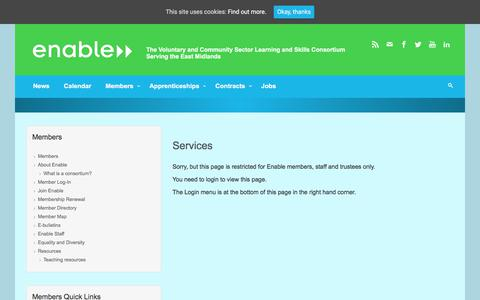Screenshot of Services Page enable.uk.net - Services – Enable - captured Aug. 7, 2017