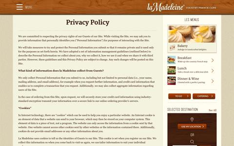 Screenshot of Privacy Page lamadeleine.com - Privacy Policy - La Madeleine - captured Sept. 19, 2014