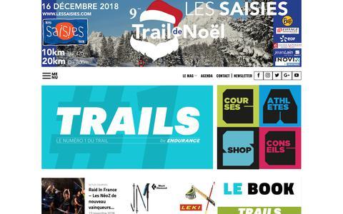 Screenshot of Home Page trails-endurance.com - Trails Endurance Mag : Le magazine n°1 du trail running et du sport nature - captured Nov. 16, 2018