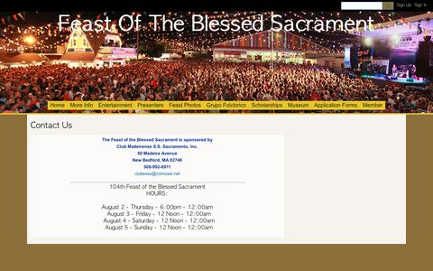 Screenshot of Contact Page ning.com - Contact Us - Feast Of The Blessed Sacrament - captured Oct. 27, 2018