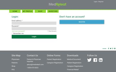 Screenshot of Login Page medreleaf.com - My Account | MedReleaf - captured Oct. 18, 2017
