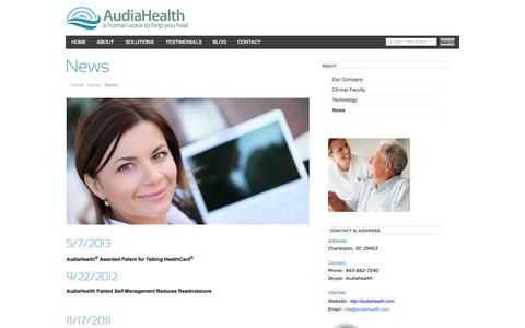 Screenshot of Press Page audiahealth.com - AudiaHealth - a human voice to help you healNews - captured Oct. 4, 2014
