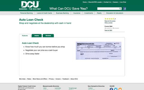 Auto Loan Check | DCU | Massachusetts | New Hampshire