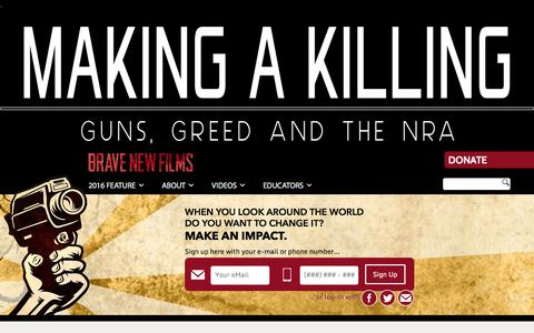 Screenshot of Home Page bravenewfilms.org - Brave New Films | Creating Media that Makes an Impact - captured Jan. 17, 2016