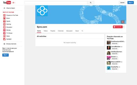 Screenshot of YouTube Page youtube.com - Sync.com  - YouTube - captured Oct. 26, 2014