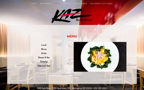 Screenshot of Menu Page kazsushi.com - Menu — KAZ Sushi Bistro - captured June 16, 2016