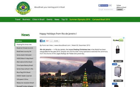 Screenshot of Press Page aboutbrasil.com - News Brazil - Floating Christmas tree Rio de Janeiro - captured Dec. 23, 2015
