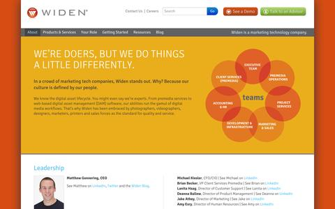 Screenshot of About Page widen.com - Who We Are – Widen - captured Sept. 18, 2014
