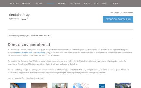 Screenshot of Services Page dentalholiday.co.uk - see the range of dental services suitable to be provided abroad - captured Jan. 7, 2016
