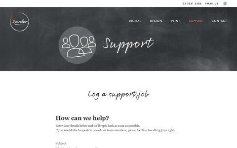 Screenshot of Support Page reveler.com.au - Reveler : Support : Geelong Marketing Agency : Design and Digital - captured July 13, 2018