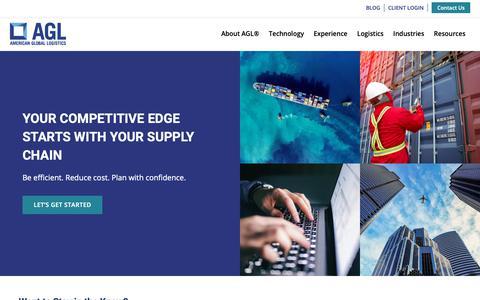 Screenshot of Home Page americangloballogistics.com - American Global Logistics | AGL - Supply Chain Logistics, POM, 4PL - captured June 24, 2019