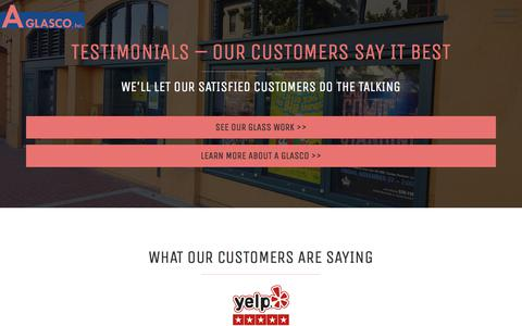 Screenshot of Testimonials Page aglasco.com - Testimonials - What Our Customer Are Saying | A Glasco - captured July 16, 2018