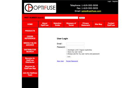 Screenshot of Login Page optifuse.com - Optifuse for fuses, fuseholders, fuseclips, and more - captured March 30, 2019