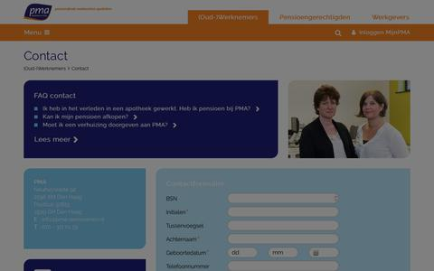 Screenshot of Contact Page pma-pensioenen.nl - PMA - captured March 3, 2018