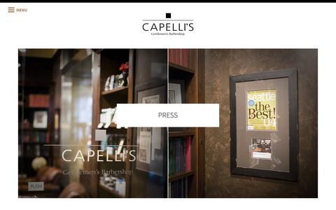 Screenshot of Press Page capellis.com - Capelli's Gentlemen's Barbershop: Custom Barbering For The Modern Man - captured Dec. 7, 2018