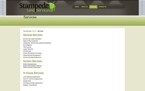 Screenshot of Services Page stampedeland.com - Stampede Land Services - captured Oct. 6, 2014
