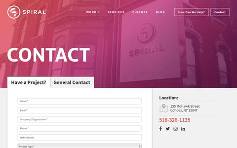 Screenshot of Contact Page spiraldesign.com - Contact Us | Spiral Design Studio, LLC, Albany NY - captured Nov. 19, 2018