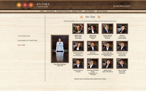 Screenshot of Team Page antaraseniorliving.com - Antara Senior Living - captured March 6, 2016