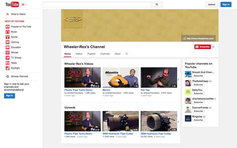 Screenshot of YouTube Page youtube.com - Wheeler-Rex's Channel  - YouTube - captured Oct. 26, 2014