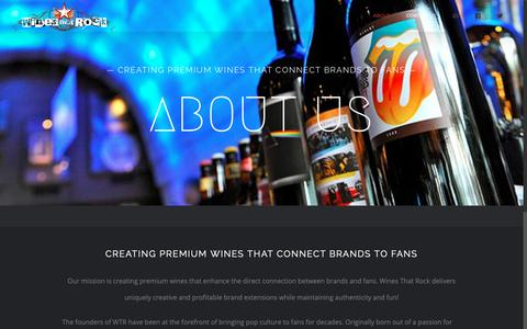 "Screenshot of About Page winesthatrock.com - About – Wines That Rock | The Offical Wine of Rock ""N Roll - captured Oct. 20, 2018"