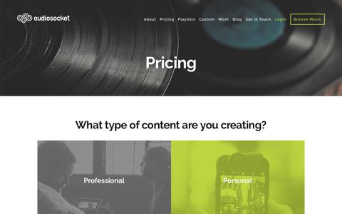 Screenshot of Pricing Page audiosocket.com - Pricing - Audiosocket Music Store: Powered by MaaS - captured July 13, 2018