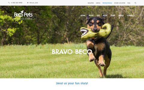 Screenshot of Testimonials Page becopets-usa.com - BRAVO BECO - Beco Pets USA - captured April 22, 2016