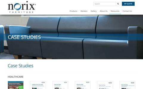 Screenshot of Case Studies Page norix.com - Furniture Solutions | Norix Case Studies | Engineered to Endure - captured Oct. 19, 2018