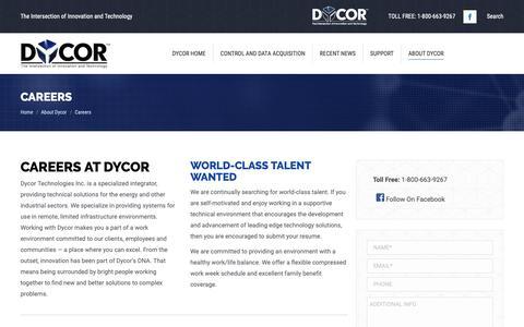 Screenshot of Jobs Page dycor.com - Careers - Dycor - captured Dec. 19, 2018