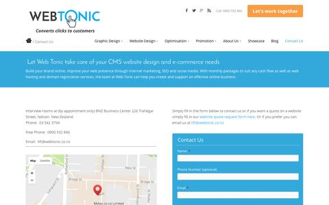 Screenshot of Contact Page webtonic.co.nz - Contact Web Tonic, Nelson New Zealand - captured April 11, 2017