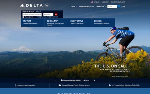 Screenshot of Home Page delta.com - Airline Tickets and Flights to Worldwide Destinations : Delta Air Lines - captured Feb. 18, 2016