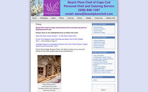 Screenshot of Press Page beachplumchef.com - Press | Beach Plum Chef of Cape Cod Personal Chef and Event Services - captured Nov. 22, 2016