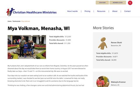 Screenshot of Testimonials Page chministries.org - Menasha, WI              | Christian Healthcare Ministries - captured May 16, 2019