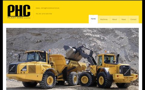 Screenshot of Home Page phcgroup.co.za - Home - Plant Hire Connection - captured Oct. 2, 2014
