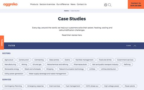 Screenshot of Case Studies Page aggreko.com - Case Studies | Aggreko - captured Sept. 22, 2018