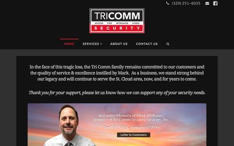 Screenshot of Home Page tri-security.com - Home | Tri Comm Security - captured Feb. 25, 2016