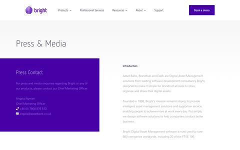 Screenshot of Press Page assetbank.co.uk - Press & Media - Asset Bank - captured March 21, 2019