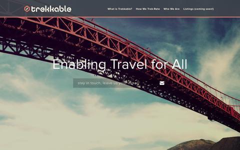 Screenshot of Home Page trekkable.co - Trekkable | Enabling Travel for All - captured Feb. 27, 2016