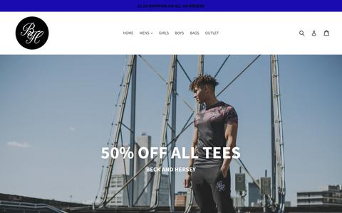 Screenshot of Home Page beckandhersey.com - Beck & Hersey Clothing | Urban Branded Sportswear Worn On The Street - captured Sept. 8, 2017