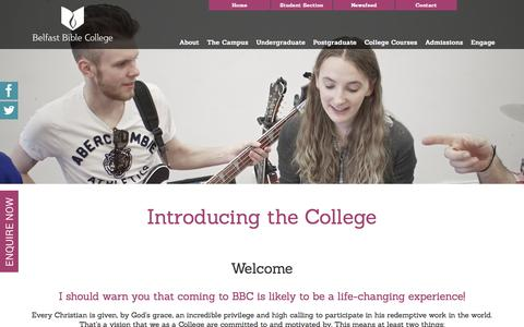Screenshot of About Page belfastbiblecollege.com - Introducing the College - Belfast Bible College - Christian College - captured June 14, 2016