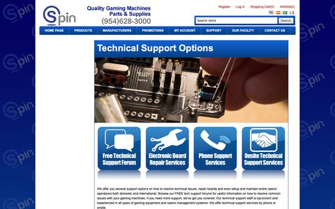 Screenshot of Support Page spininc.com - Spin, Inc. - Quality gaming machines & equipment. - captured Oct. 20, 2018