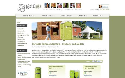 Screenshot of Products Page gotugo.com - Portable Restroom Products & Models | Rent in DC, VA, & MD | gotügo - captured July 25, 2018