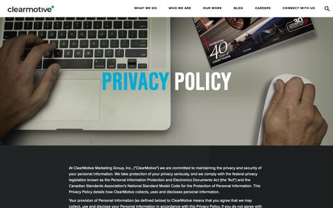 Screenshot of Privacy Page clearmotive.ca - Privacy Policy - clearmotive - captured Sept. 28, 2018