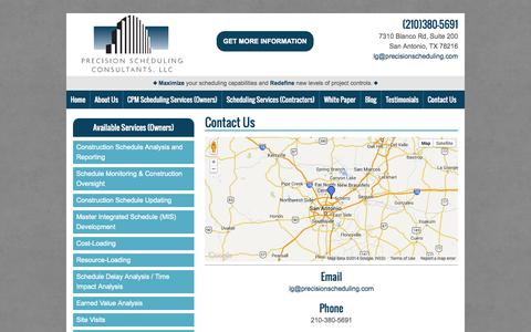 Screenshot of Contact Page precisionschedulingconsultants.com - Project Management Consulting | Project Controls San Antonio | Precision Scheduling Consultants LLC - captured Oct. 2, 2014