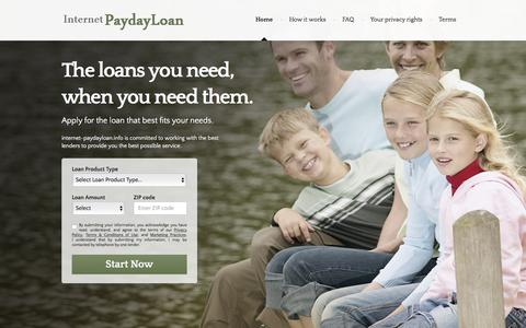 Screenshot of Home Page internet-paydayloan.info - main | Internet Payday loans - captured March 16, 2016