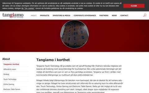 Screenshot of About Page tangiamo.com - Tangiamo i korthet | Tangiamo Touch Technology - captured Oct. 19, 2017