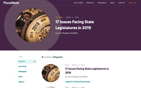 Screenshot of Blog fiscalnote.com - Resources Index | FiscalNote - captured March 20, 2019
