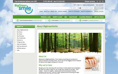 Screenshot of About Page biggreensmile.com - About Big Green Smile - captured Oct. 2, 2015