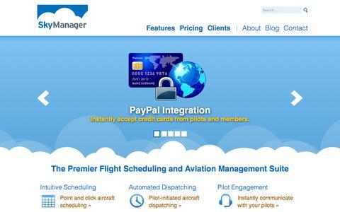Screenshot of Home Page skymanager.com - SkyManager - Online Aircraft Scheduling & Management - captured Sept. 30, 2014